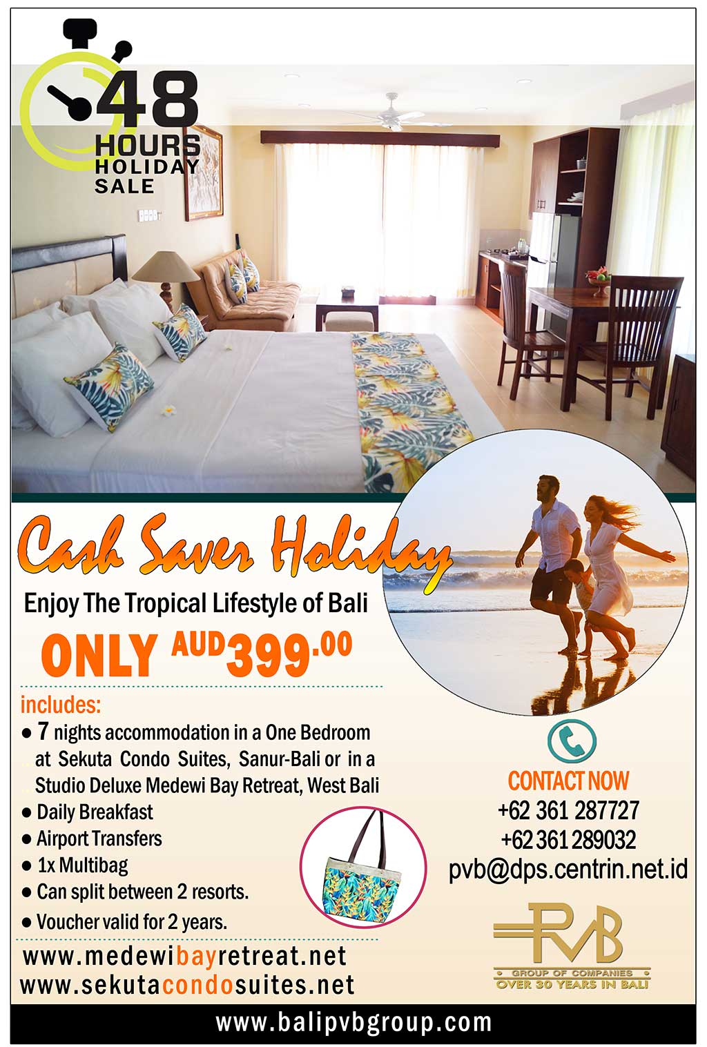 BALI : Cash Saver Holiday- Only AU$399 for 2 person for 7 Nights